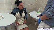 Busty pee babe cockriding in bathroom