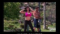 Big-tit brunette cougar rides her yoga instruct... Thumbnail