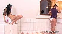 Pee hungry lesbians trade golden showers