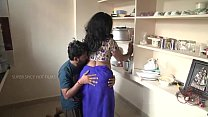 Indian mother and son romance in kitchen Thumbnail