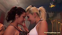 two girls in real gangbang orgy