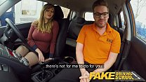 Fake Driving School 34F Boobs Bouncing in drivi...