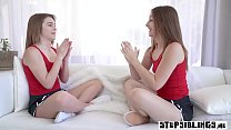 Two redhead stepsister teens fuck a friends big cock