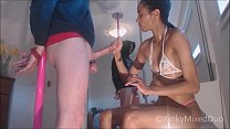 Ebony FemDom Teasing and Denying Bound Slave to Ruined Orgasm