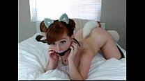 Redhead Girl puts a kitten tail in the ass and ... Thumbnail