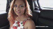Redhead teen blows hard cock on backseat