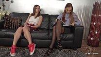 Businesswoman licking teen schoolgirl