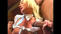 Curvy blonde Melissa Lauren gets double penetrated, fist fucks her own ass then swallows cumload