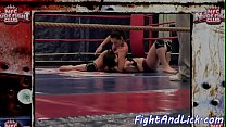 Dyke babes wrestle naked in a boxing ring Thumbnail