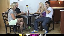 Meeting with his new girlfriend leads to threesome