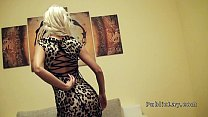 Public blonde pov banged in apartment