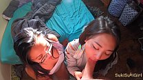 4K threesome with two high school asian girls