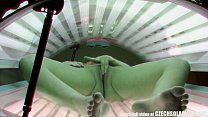 Beautiful Czech Girl Masturbates in Public Solarium