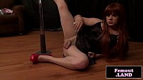 Redhead trap dancing on pole then jerks off Thumbnail