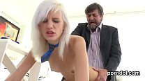 Cute schoolgirl was seduced and drilled by her ...