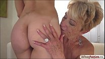 Blonde cutie Lilla eat granny Malyas old hairy ...