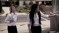 Trespassing schoolgirl teens fuck with a homele...