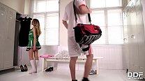 Luscious cheerleader Baby Nicols gives hot blowjob in the locker room