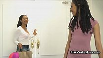 Chocolate beauties licking pussy after shopping