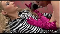 Beautiful lesbian engages in some hot kissing a...