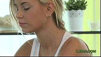 Brunette and blonde massage together