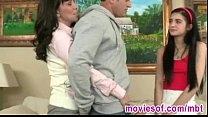 Horny stepmom teaches her stepdaughter how to p...