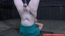 Headlocked sub punished roughly by maledom
