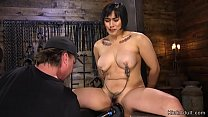 Hairy Asian busty slave fucked in bondage