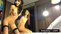 Two ladyboy babes in a threesome with a very lu... Thumbnail