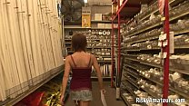 Sexy girl next door masturbating in the store