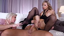 Naughty boys gets to suck and fuck sexy feet of Barbie Sins & Marika Vitale
