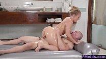 Cute girl AJ Applegate gives a hot massage ang ... Thumbnail