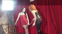 Dominant MILF Misa has backstage fun with teen newbie