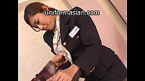 Asian Hairy Air Hostess in uniform getting sex