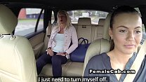 Married blonde has lesbians sex in fake taxi