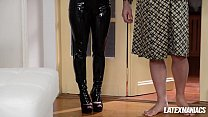 Latex maniacs see Russian femdom babes Nesty & Lucy Heart share subby stud
