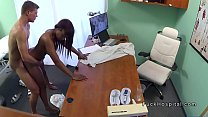 Ebony with stomach pain gets doctors cock