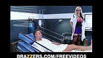Dirty blonde Doctor Alena Croft helps her patie...