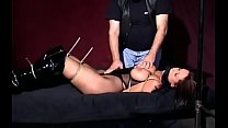 Mature slut gets teased while being fastened to armchair