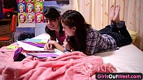 Girls Out West - Hot lesbian teens with squelch...