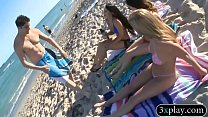 Babes convinced to have a painted body bikini f...
