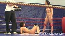 Wrestling euro babes get naked Thumbnail