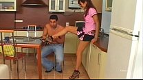 Sexy brunette banged in the kitchen
