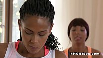Ebony lesbians fucking after fitness training