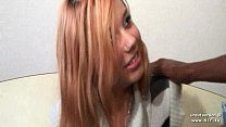 Pretty french redhead hard banged and facialized in an interracial 3some