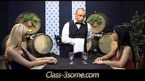 Horny chicks tease and fuck a sexy winery waiter