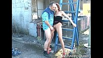 Outdoor session with kinky brunette MILF