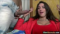 Busty latin shemale Adriana Rodrigues cums whil... Thumbnail