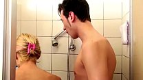 German Step-Mom help Son in Shower and Seduce t...