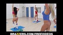 Slutty blonde aerobics teacher rides her studen...